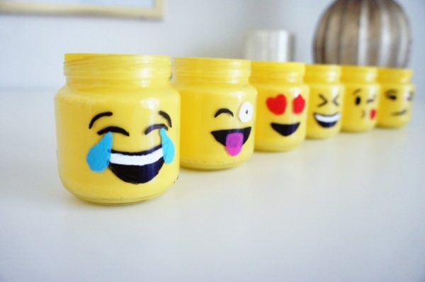 Painted mason jars with emojis character.