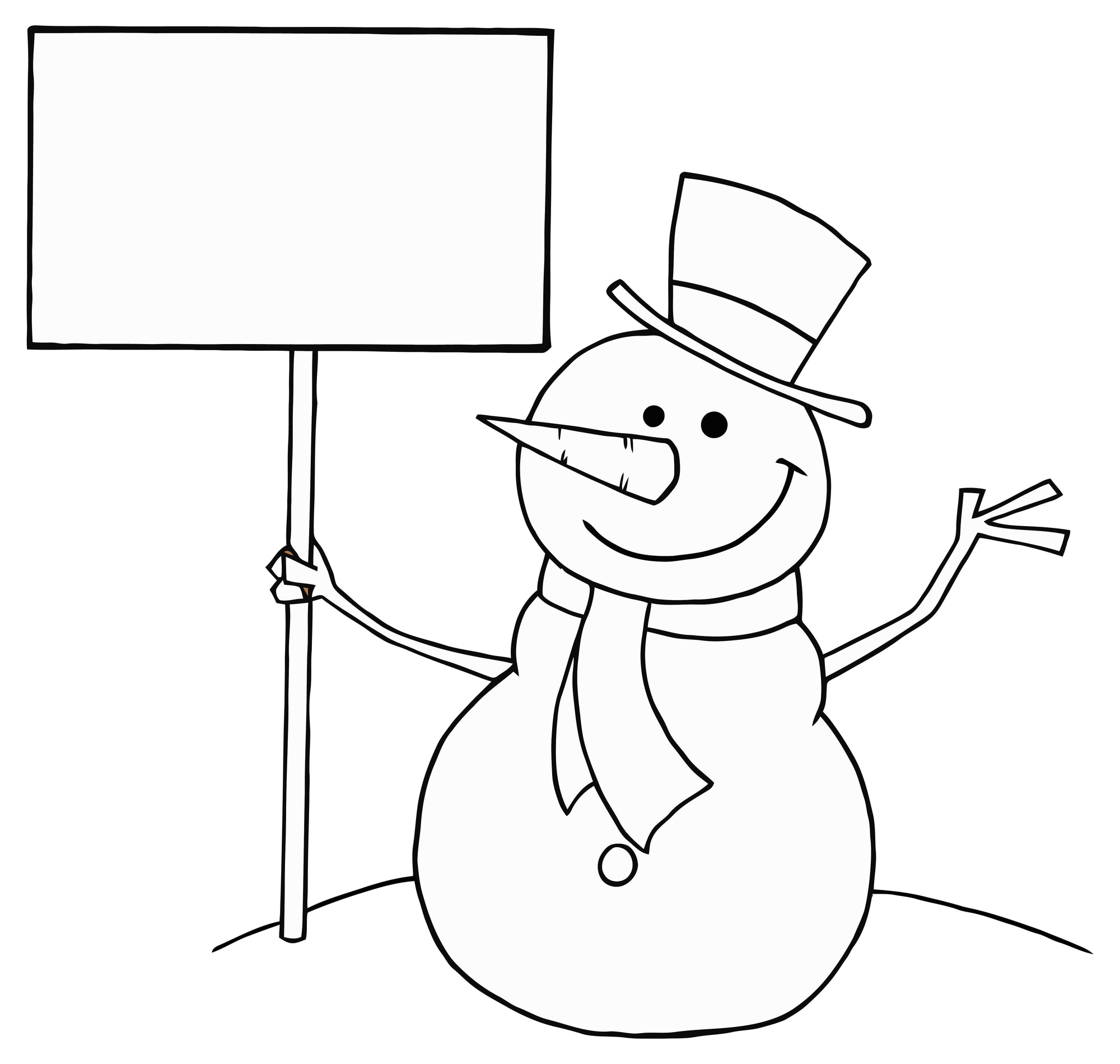 Outline Cartoon Happy Snowman Character with blank banner, coloring page