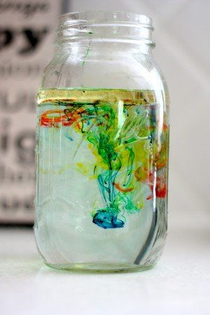 fireworks in a jar: oil, water, and food coloring