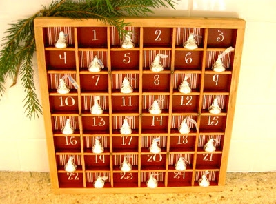 Advent Calendar from a Repurposed Type Tray