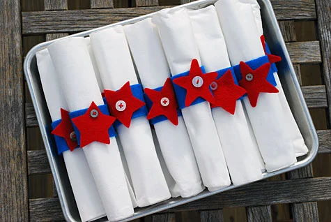 Fourth of July Felt and Button Star Napkin Rings