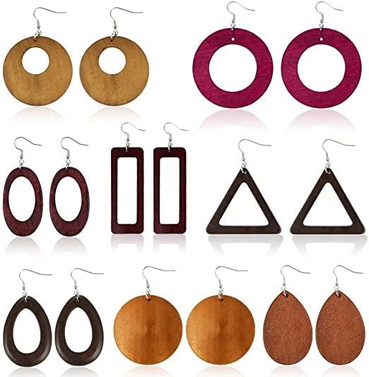 Sntieecr 8 Pairs Wood Earrings Natural Wooden Teardrop Earrings Lightweight Dangle Earrings Geometric Wood Drop Earrings for Women