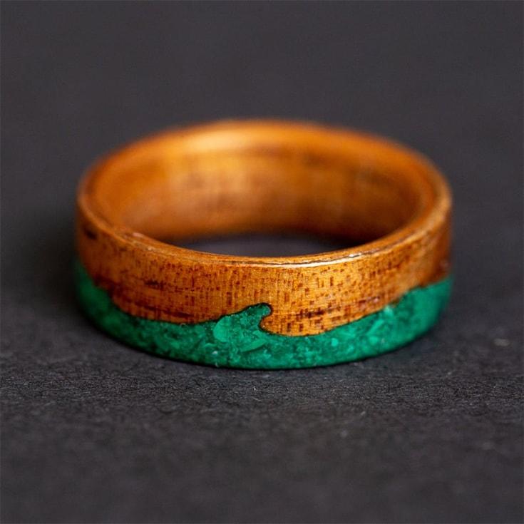 Wood Ring, Koa Wooden ring Malachite Ocean waves