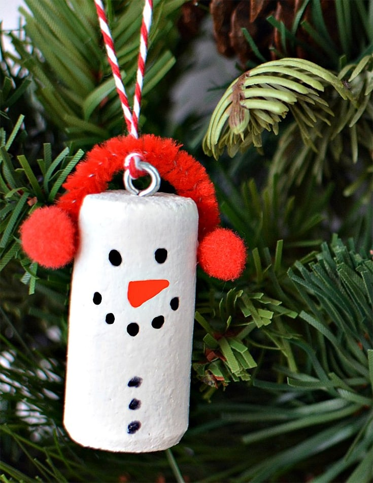 Snowman Ornaments from Wine corks