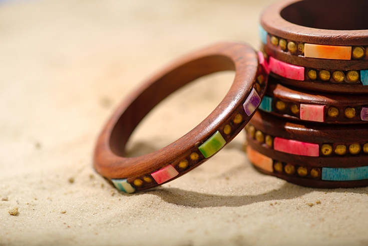 Summer composition with ethnic bracelets