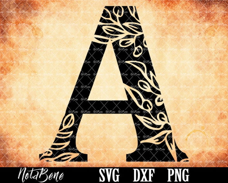 Floral Alphabet Svg Cut files Floral Monogram Letters Clipart Alphabet svg Silhouette Font Cricut Floral font svg Laser CNC Plasma Dxf Png