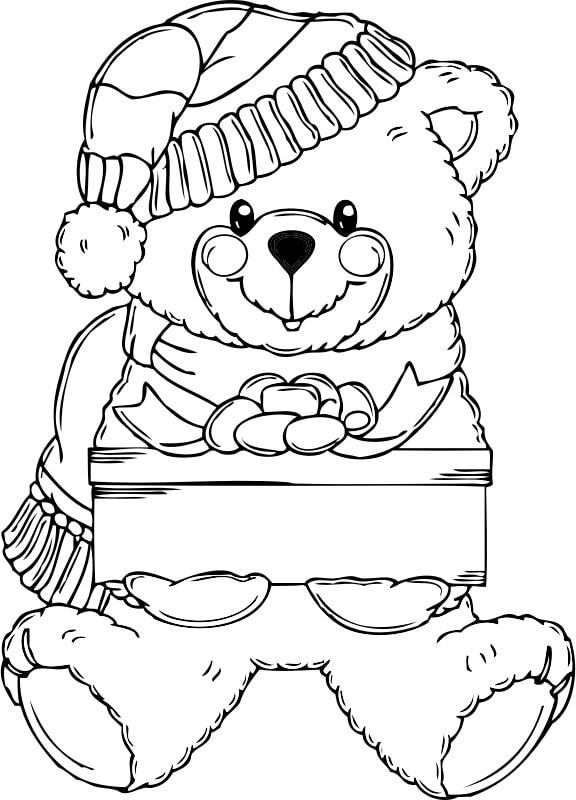 Christmas Bear Coloring Page