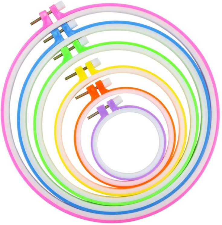 Similane 6 Pieces Embroidery Hoops, Plastic Circle Cross Stitch Hoop Ring 3.4 inch to 10.2 inch (Multicolor) for Embroidery and Cross Stitch