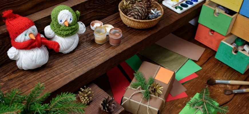 Christmas Crafts and gifts in wooden setting