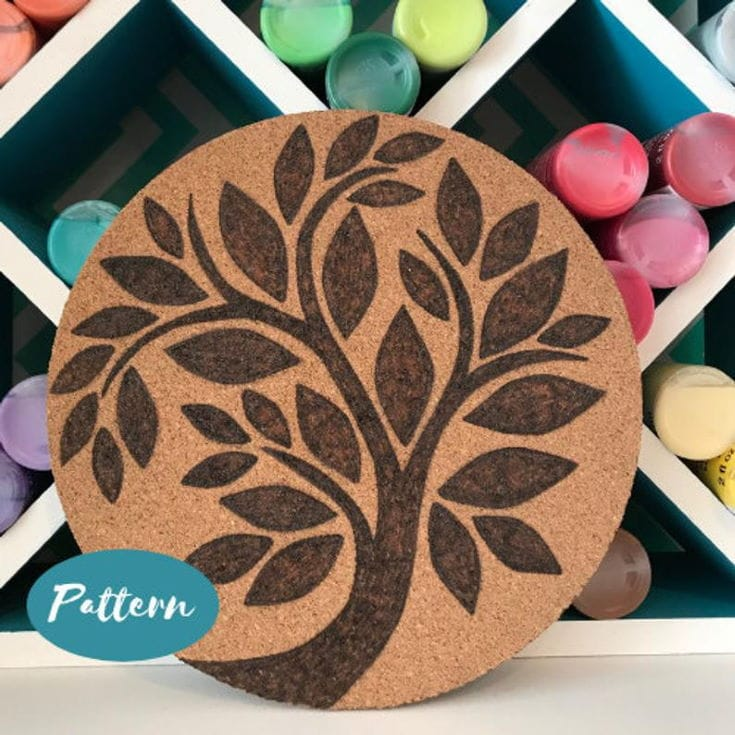 Custom Wood Burning Patterns: Round Tree // Easy Pattern Template Design // Pyrography Art // Instant Download PDF File // Cutting Board