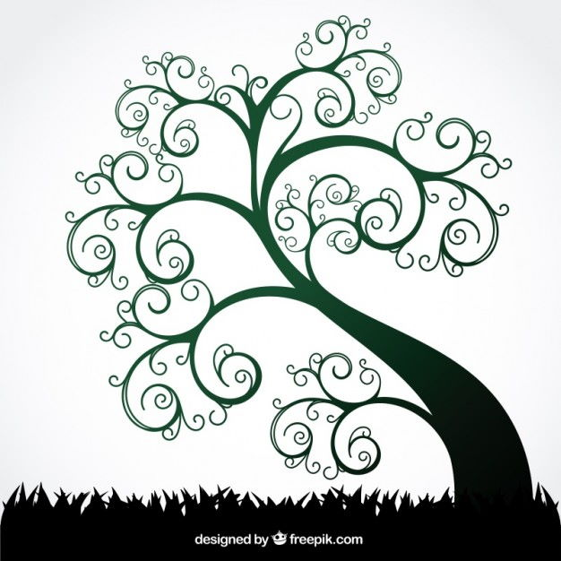 Summer swirl tree Free Vector