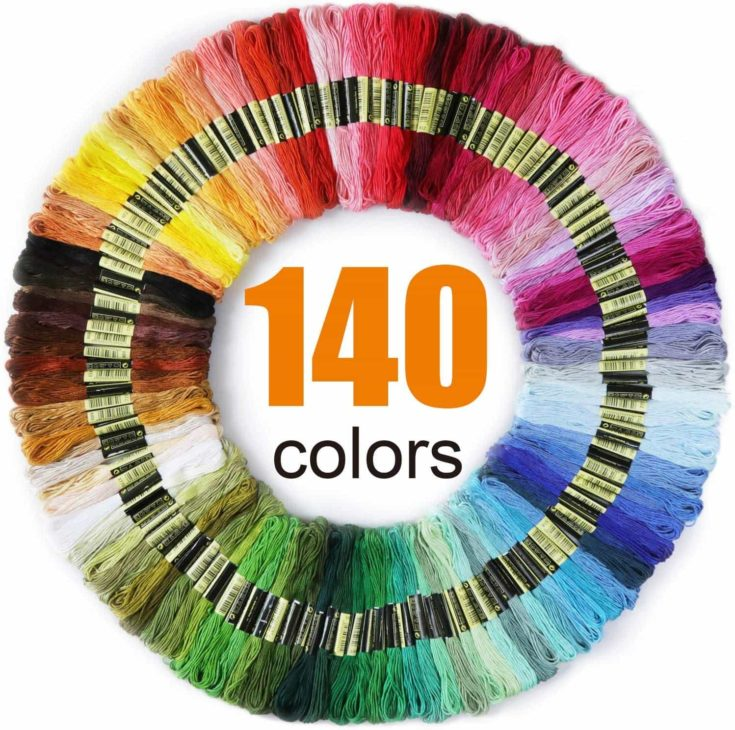 LOVIMAG Premium Rainbow Color Embroidery Floss 140 Skeins Per Pack with Cotton for Cross Stitch Threads, Bracelet Yarn, Craft Floss, Aroic Embroidery Floss Set