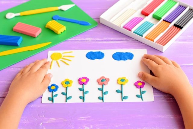 Finger Painting Cards using clay.