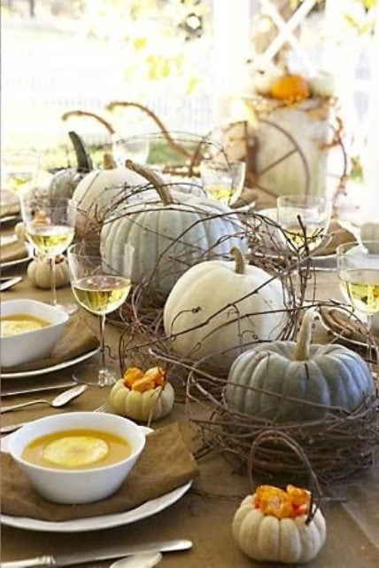 Cottage Chic brown and soft cream color pumpkin thanksgiving centerpiece