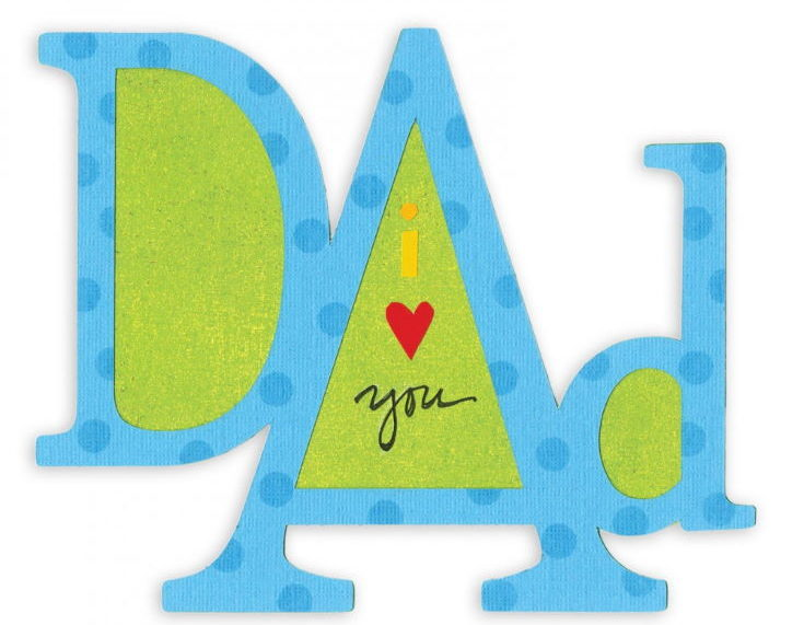 "A Die-Cut ""I love you dad"" Card in white background"