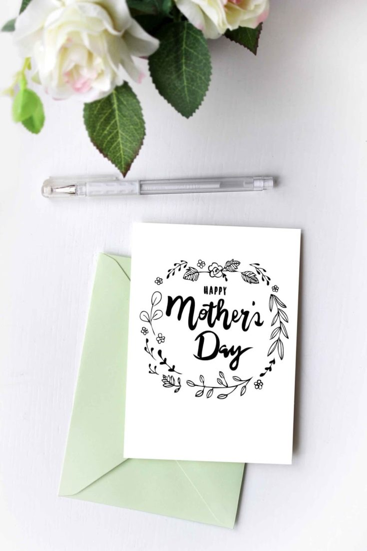 A Printable Coloring Card with mother's day greetings.