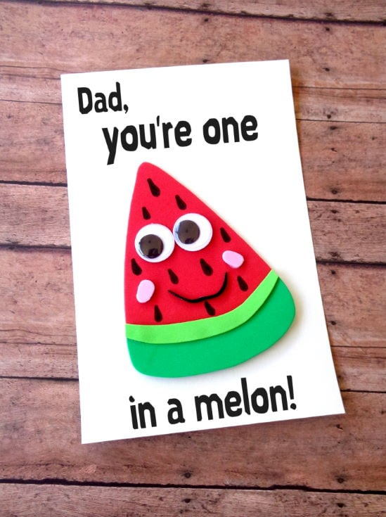 Father's Day Watermelon Card in wooden background