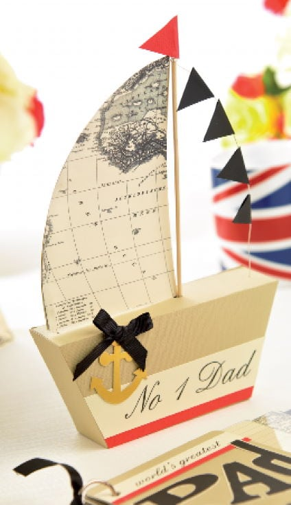 A Sailboat Gift Box and Map Card on the table