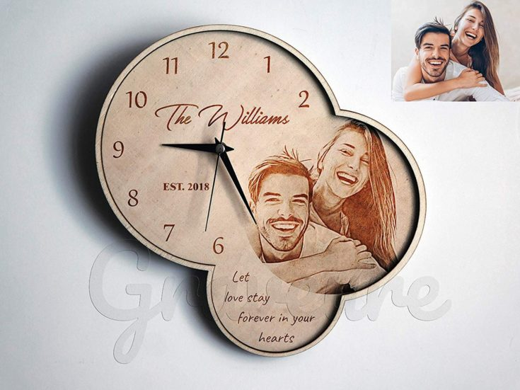 Classic wall clock lightly burned couple's photo and short messages on it.