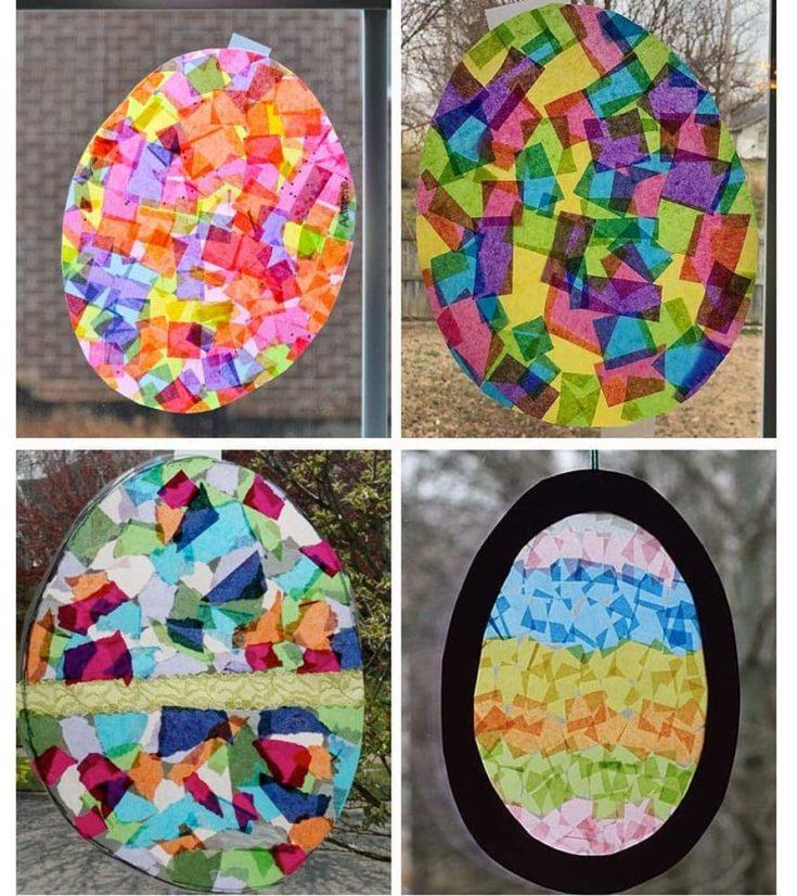 Suncatchers made of tissue paper in colorful egg shape design.