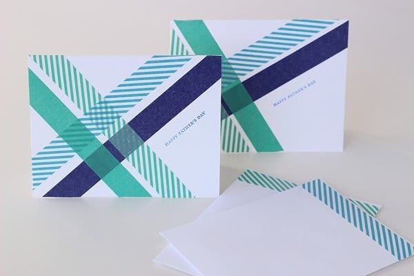 Washi Tape Criss Cross Card in white background
