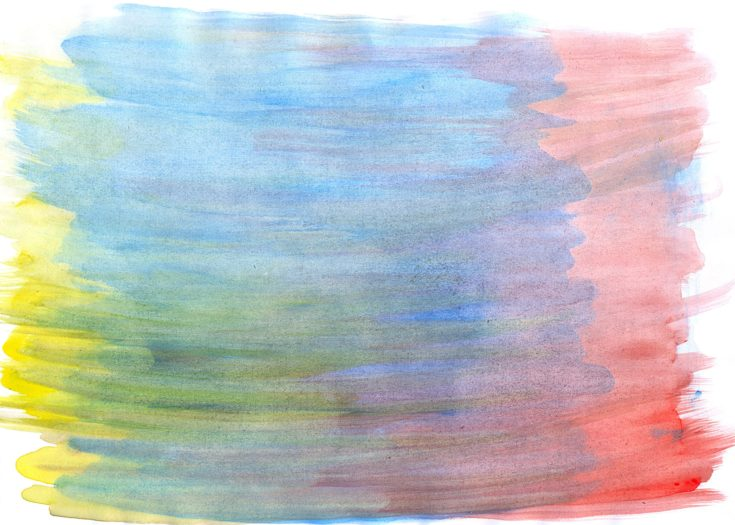 Abstract watercolor background with yellow, blue, red layers