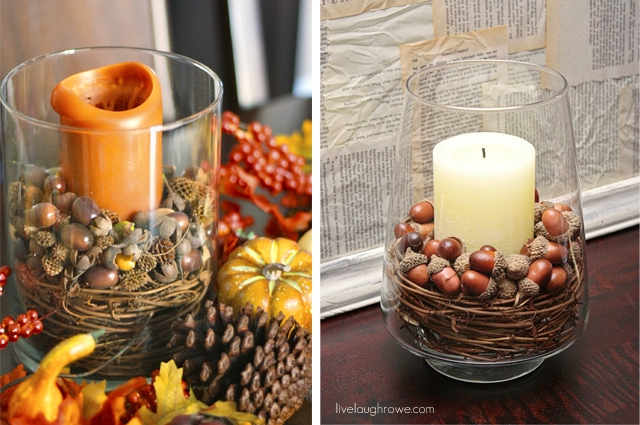 Live Laugh Rowe Acorn and Candles centerpiece