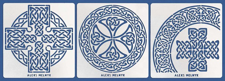 Aleks Melnyk #38 Metal Journal Stencils/Celtic Knot, Cross and Round/Stainless Steel Stencils