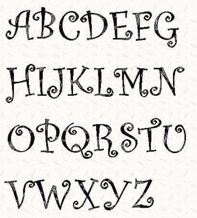 Alphabet Curlz Font 3 inch stencil in white background