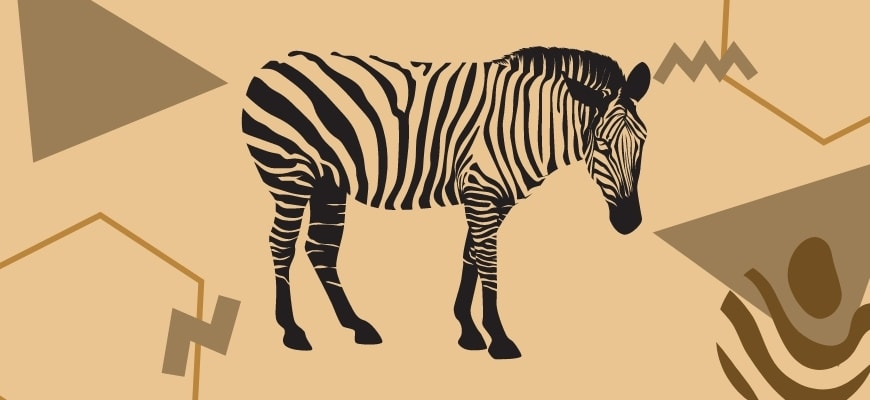 Zebra wod carving pattern with a background.