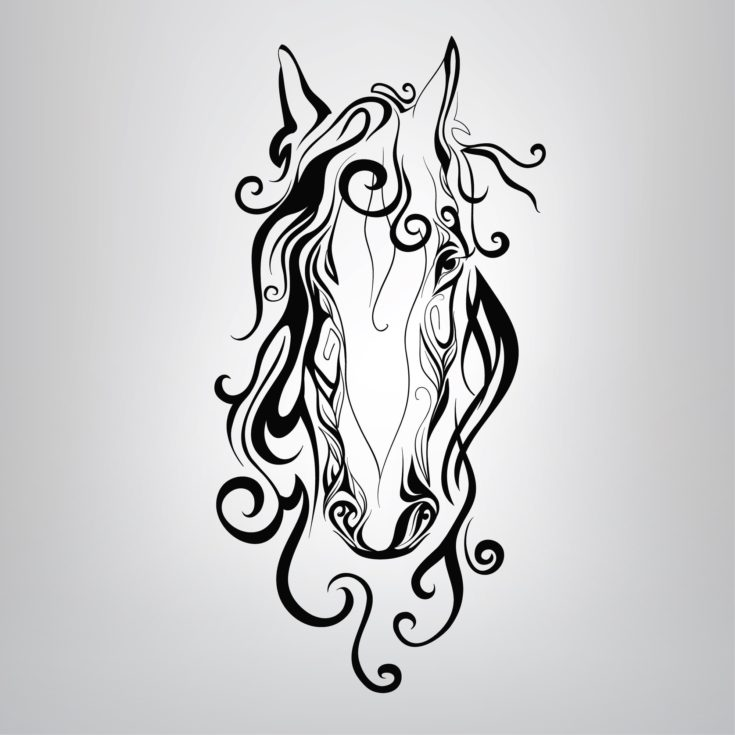 Silhouette of a horse's head in the patterns. vector illustration