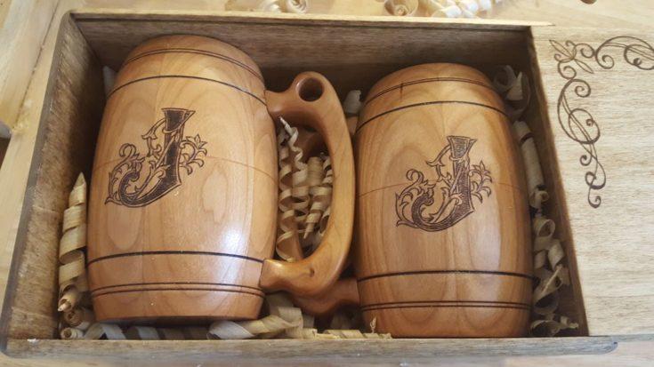 Beer Tankards wood burning idea in a box