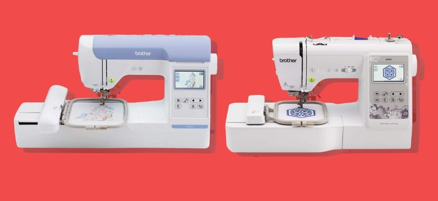 Showing two models of Brother Embroidery Machines.