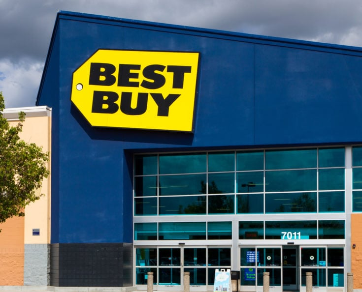 Best Buy store front. Best Buy is an American multinational consumer electronics corporation operating in the USA, Puerto Rico, Mexico, Canada, and China.