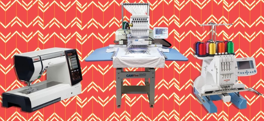 Three brands of highly commercialized embroidery sewing machines.