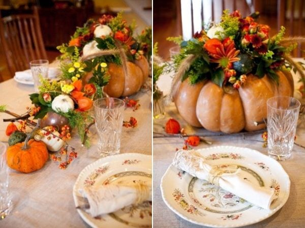 Big gourd and flowery DIY thanksgiving tanle decoration