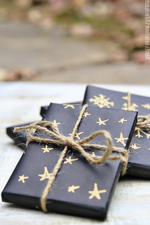 Gold and Black Christmas Gift Wrapping Paper tied with jutes by Ashley Hacksaw and Lil Blue Boo