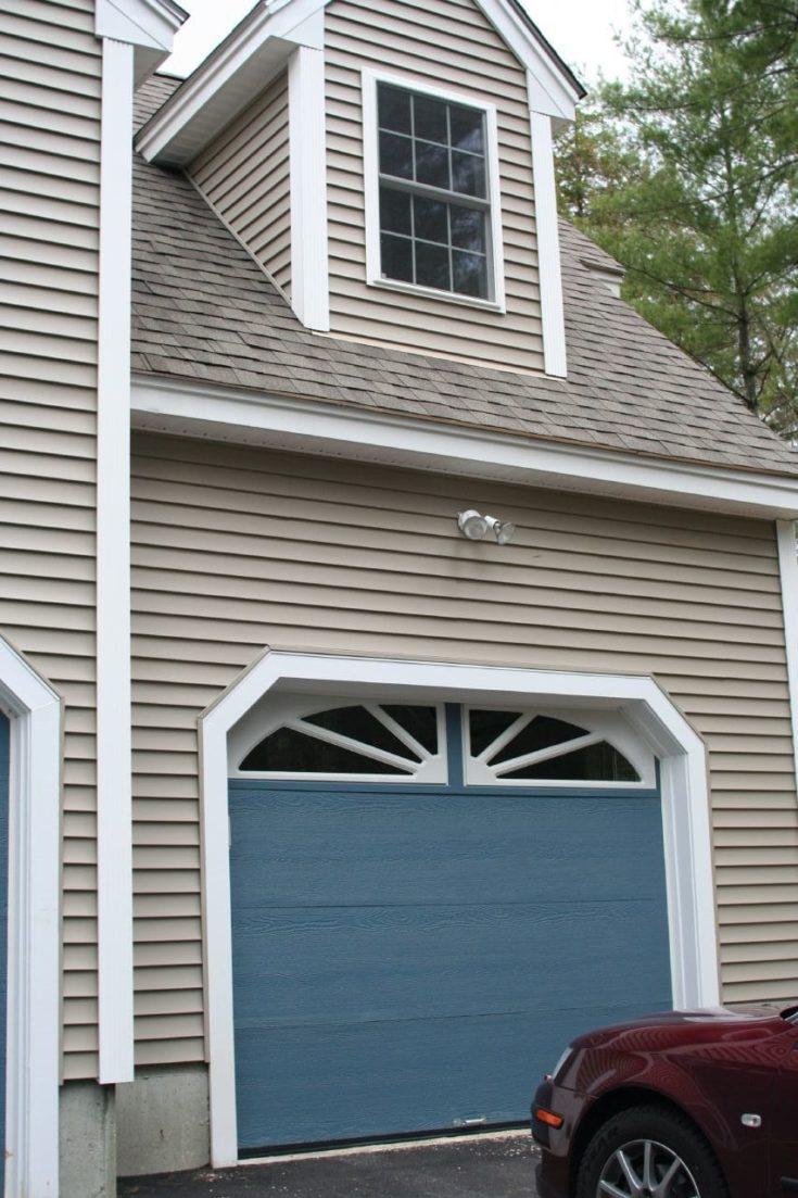 Blue with White garage