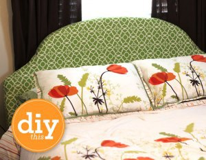 Bold green design headboard