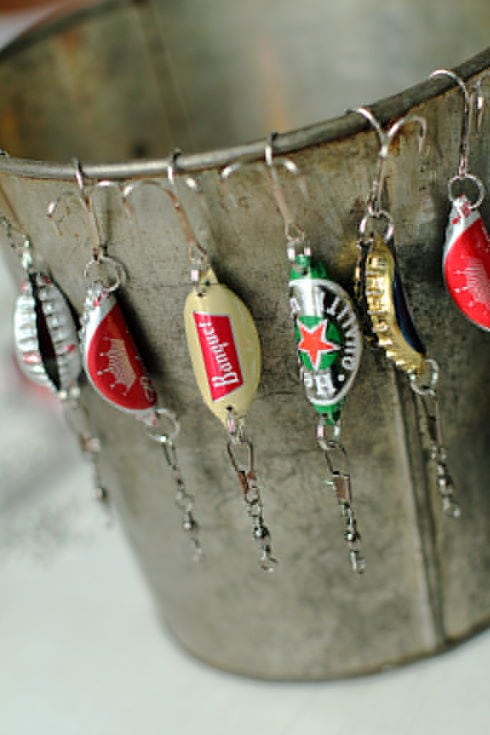 Bottle Cap Fishing Lures hanged on the can