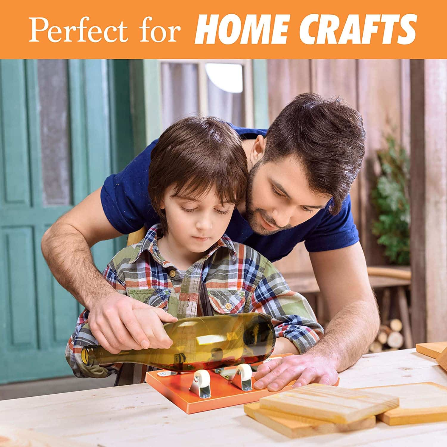 Father guide his son on cutting glass bottle using a bottle cuter frame.