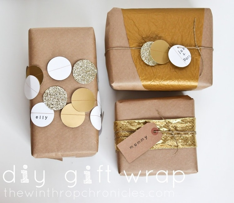 The Winthrop Chronicles DIY Brown and Gold Gift Wrapping Paper