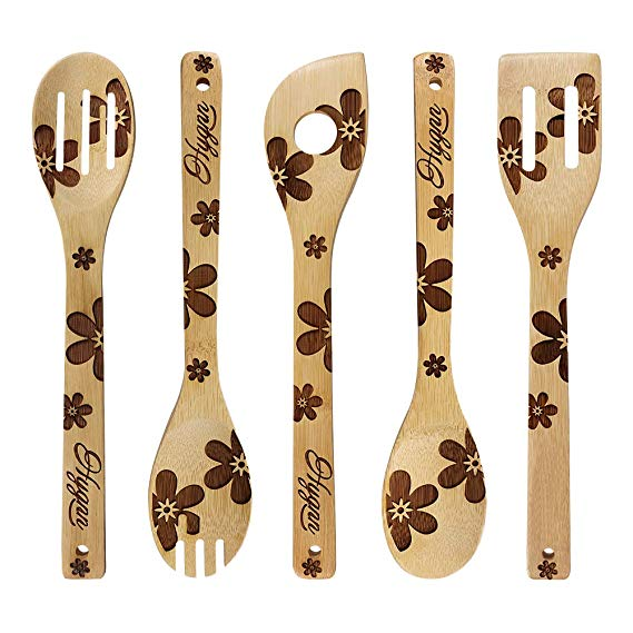 Burned Wooden Spoons House Warming Gift Unique Solid Flower Pattern Present Great For Stylish Serving Utensils