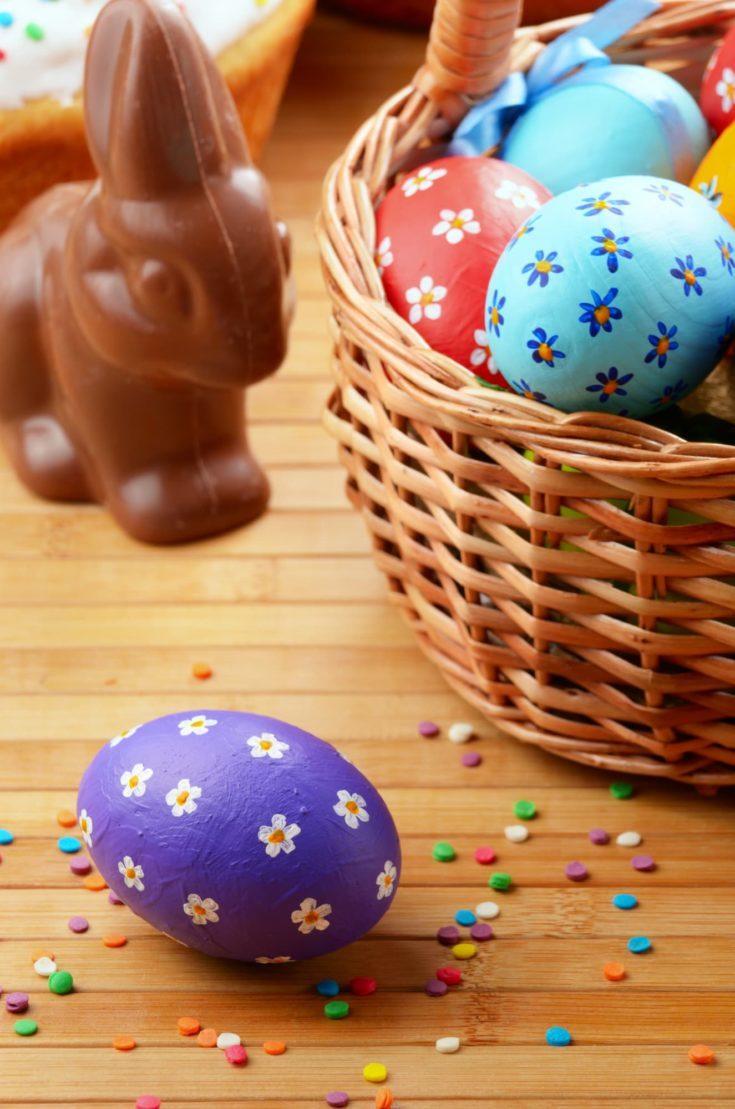 Easter eggs, cake, basket and chocolate bunny