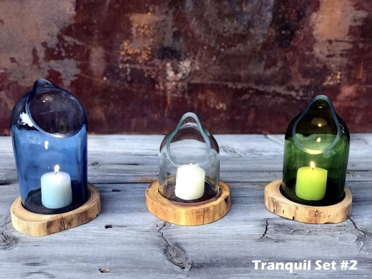 Three cutted bottle candle holders.