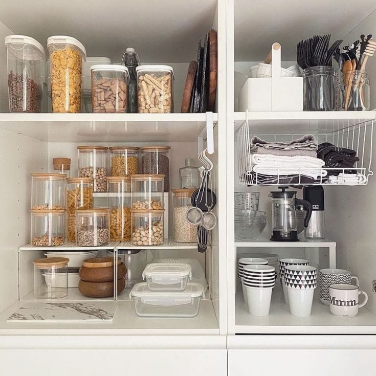 Canisters in kitchen storage