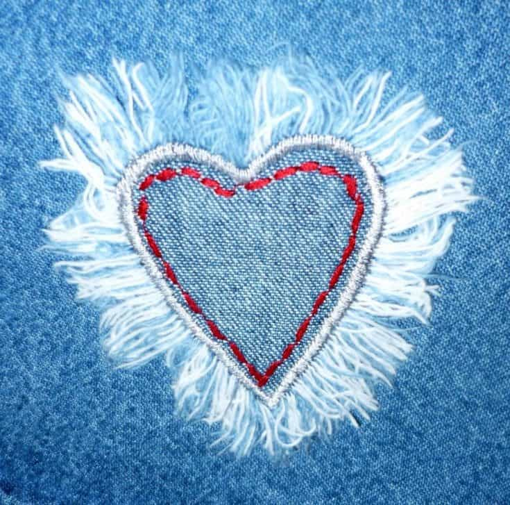 Embroidered Heart on Jeans