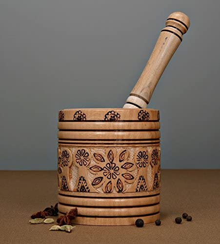 Carved Wood Mortar And Pestle Wooden Mortar And Pestle with burned ornament
