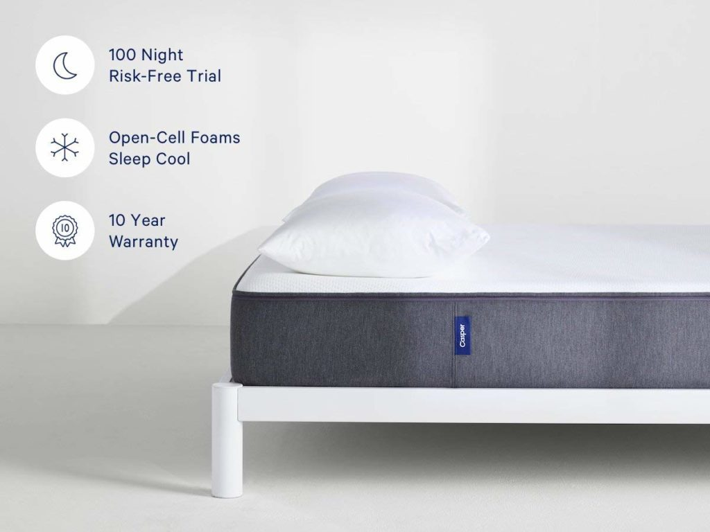 Casper Mattress with description for 100 nights free-trial, Open cell foams, and 10-year warranty.