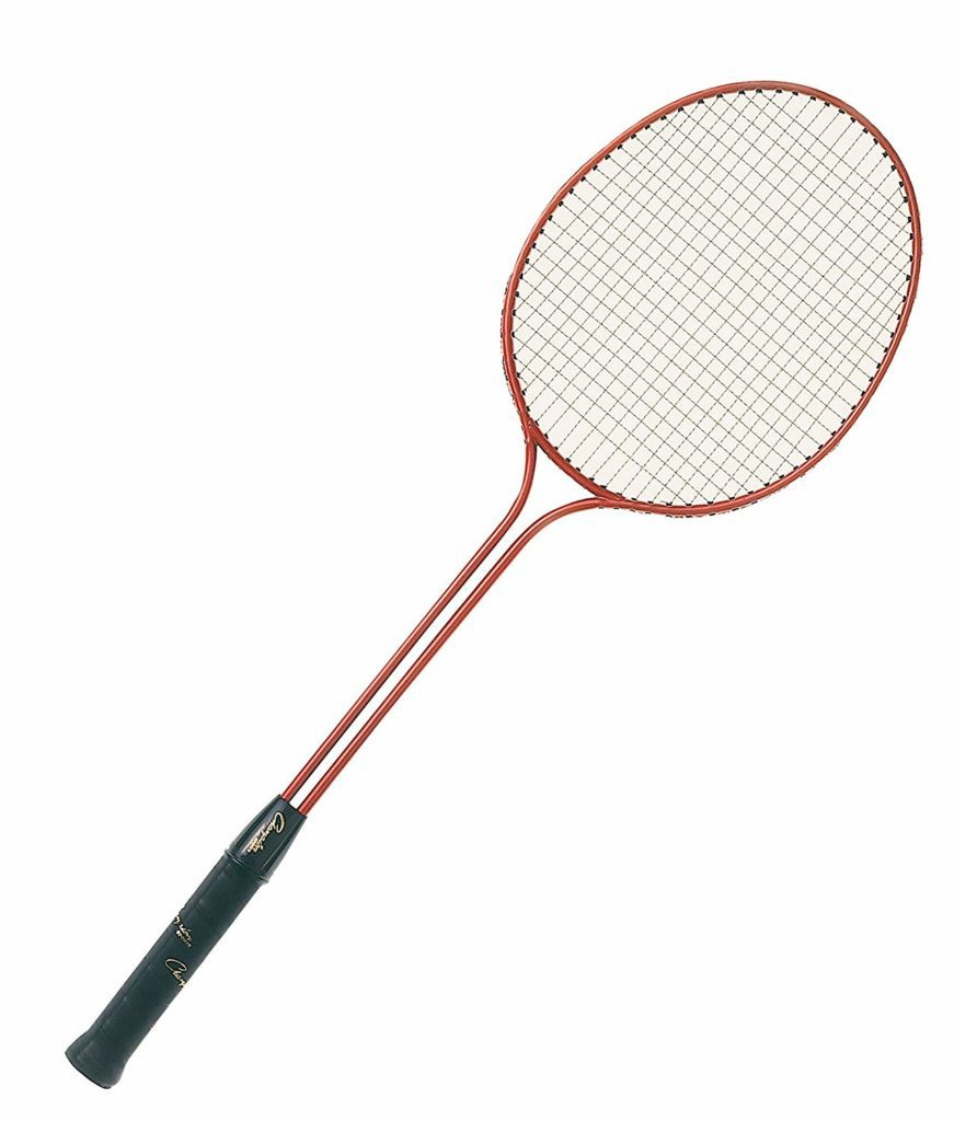Double bar red racket with black handle
